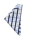 Navy & White Check Pocket Square