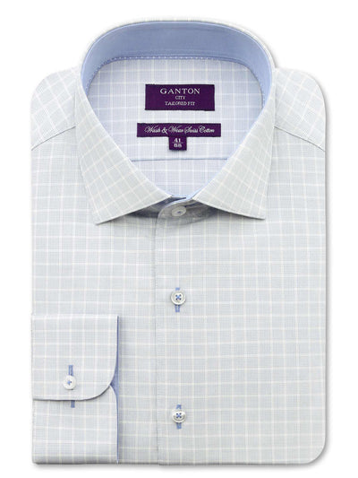 City Tailored Fit Blue Check Shirt