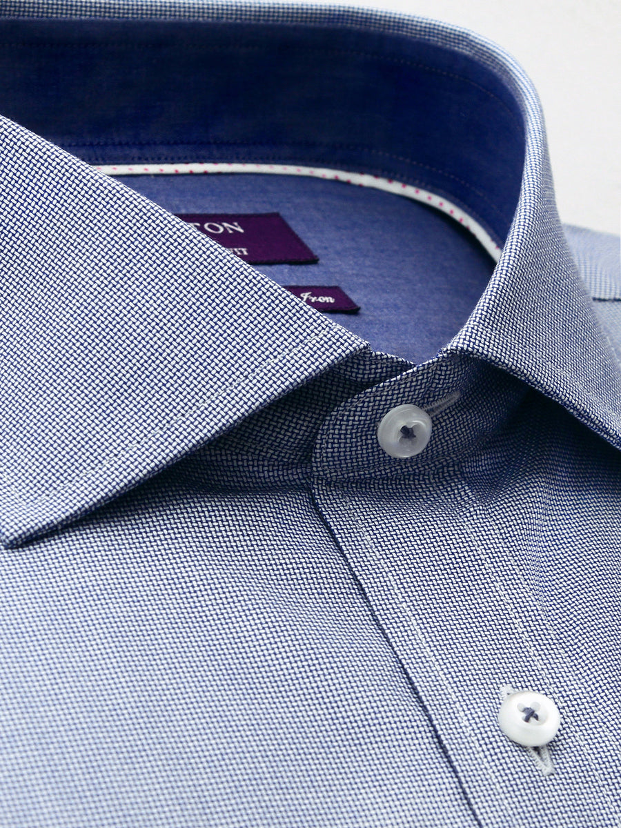 Brian textured navy shirt in a Ganton city tailored fit with savoy collar and button cuff