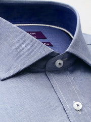 The Brian textured navy Ganton shirt with a savoy collar and placket
