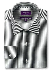 Adam black stripe shirt in a Ganton city tailored fit with spread collar and button cuff.