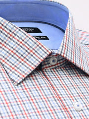 The Brent red check Ganton shirt with a spread collar and placket
