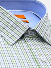 The Clyde green check Ganton shirt with a spread collar and plain front