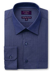 Byron print navy shirt in a Ganton city tailored fit with spread collar and button cuff