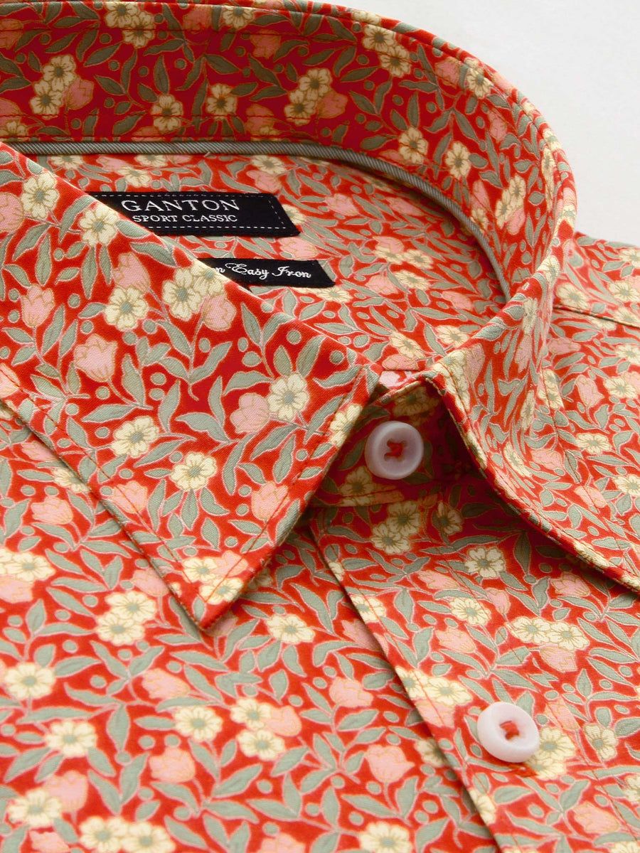 Classic fit red floral print casual shirt