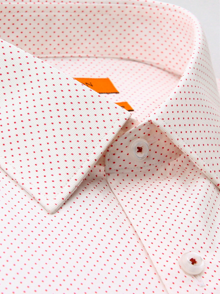Benedict red spot shirt in a Ganton slim fit with spread collar and button cuff