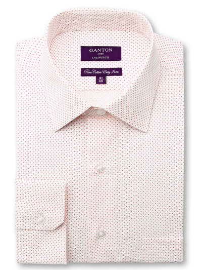 Brody red spot shirt in a Ganton city tailored fit with spread collar and button cuff