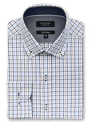 Chester brown check shirt in a Ganton classic fit with button down collar and button cuff