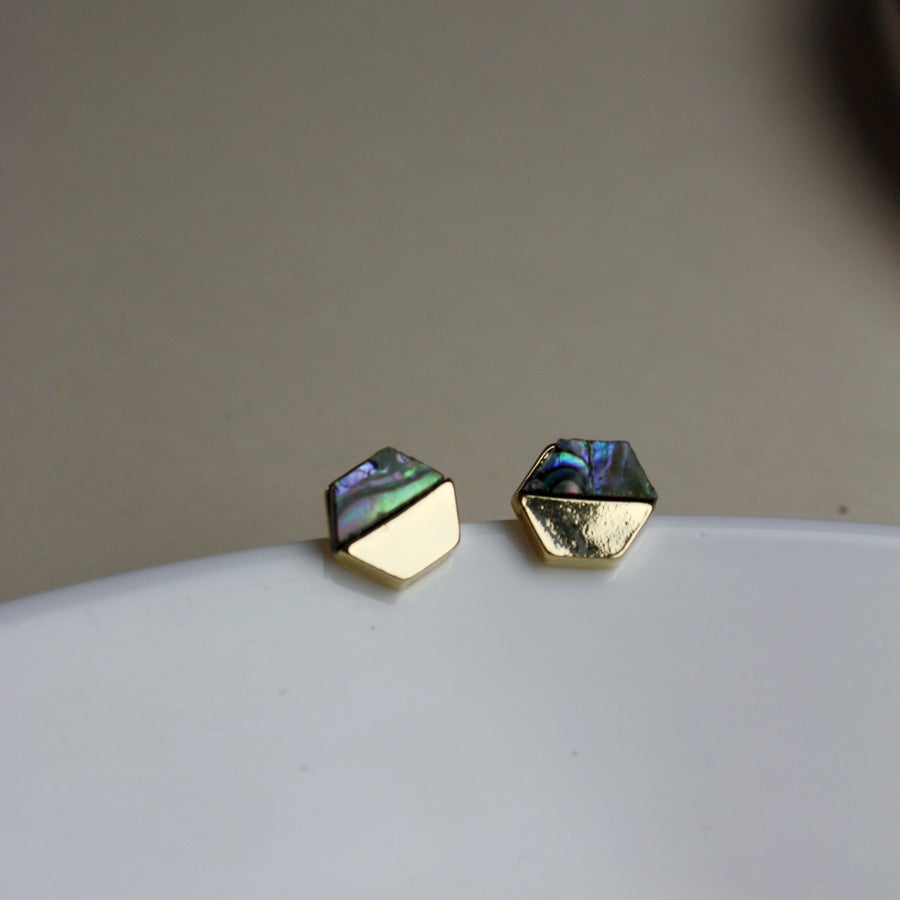 Abalone Hexagon Ohrstecker