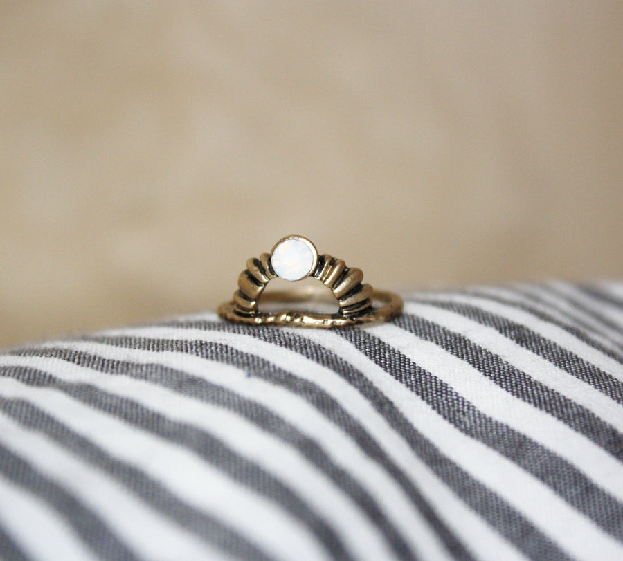 Boho Messing Mondstein - Ring Stack Ring Statement