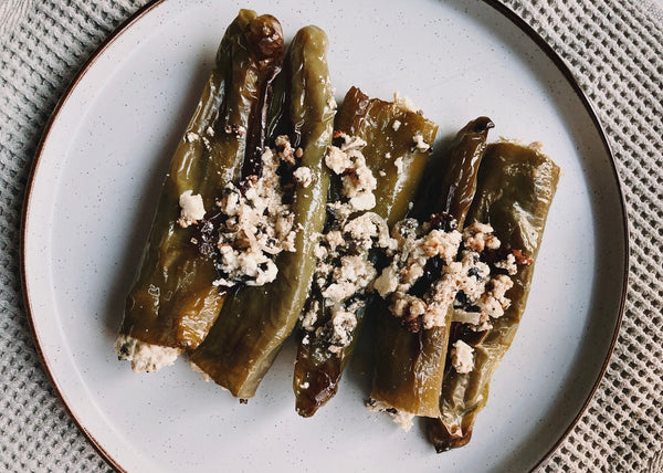 Stuffed friggitelli with feta, olives and mint