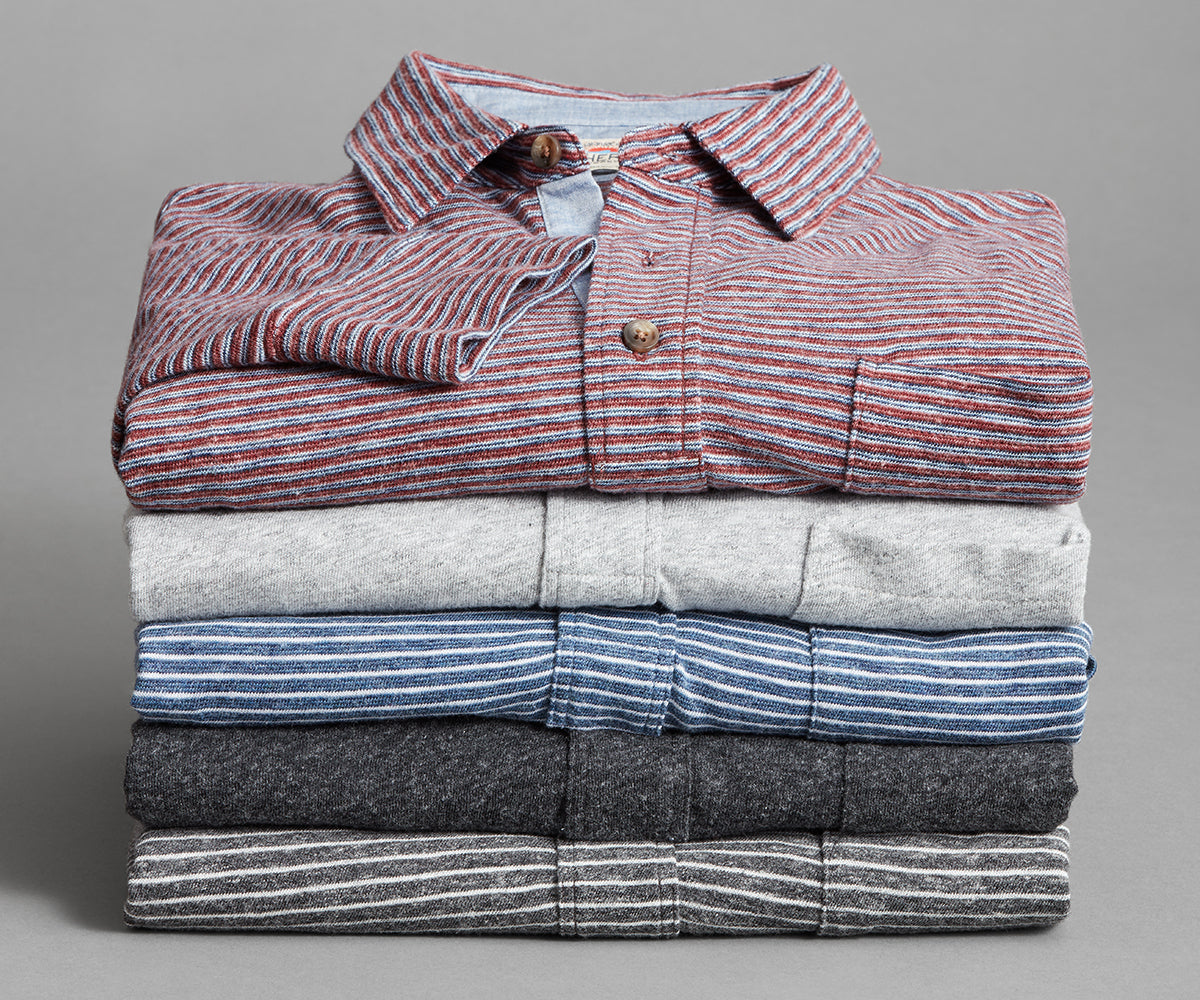 A stack of long-sleeve polos.