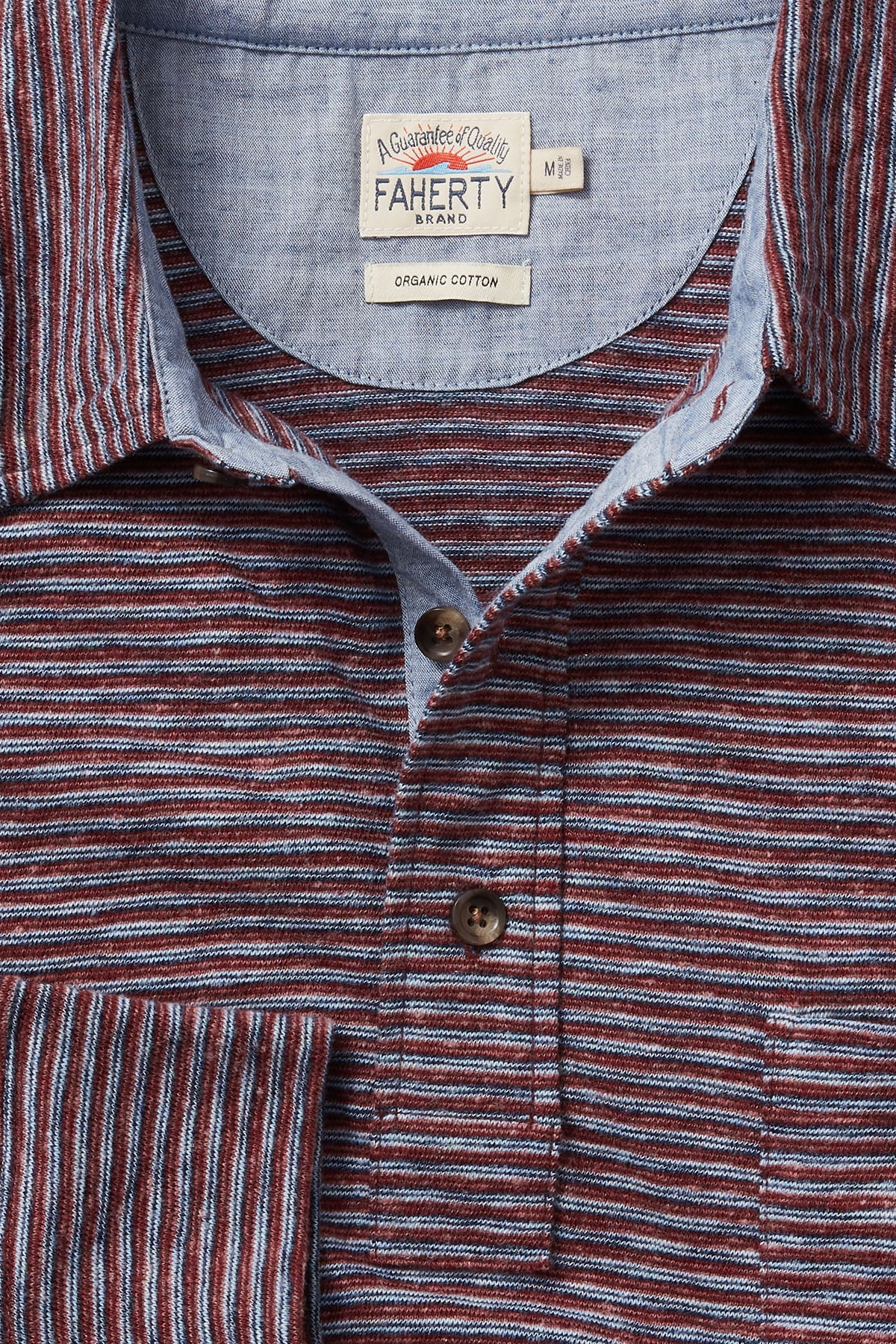 Navy Rust Stripe Long Sleeve Polo