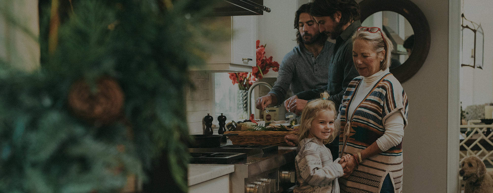 A mom, her son and his niece prepare a holiday dinner.