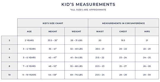 Kid's Size Guide