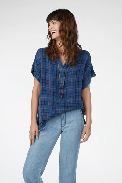 Solera Top - Indigo Plaid