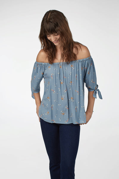 Layla Top - Steel Blue Floral Breeze