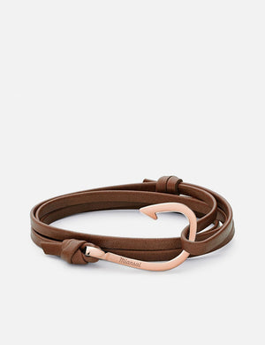 Miansai Hook Leather Rose Plated - Brown