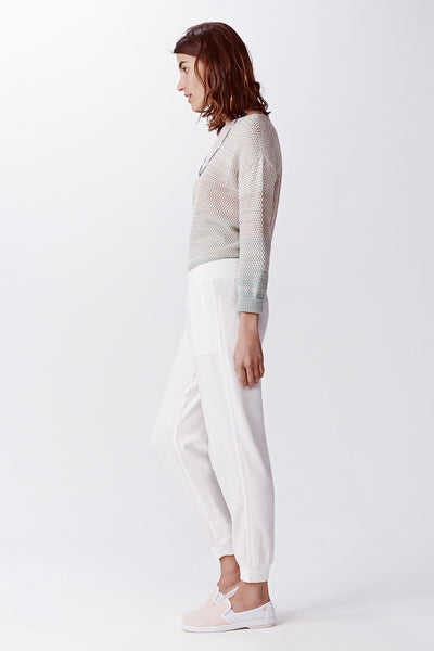 white jogger lounge pant side