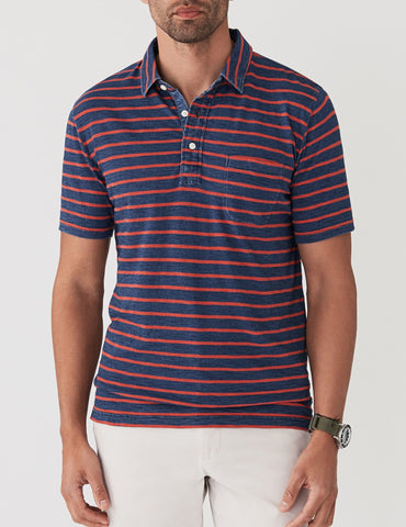 Long-Sleeve Heather Polo - Navy & Grey Stripe