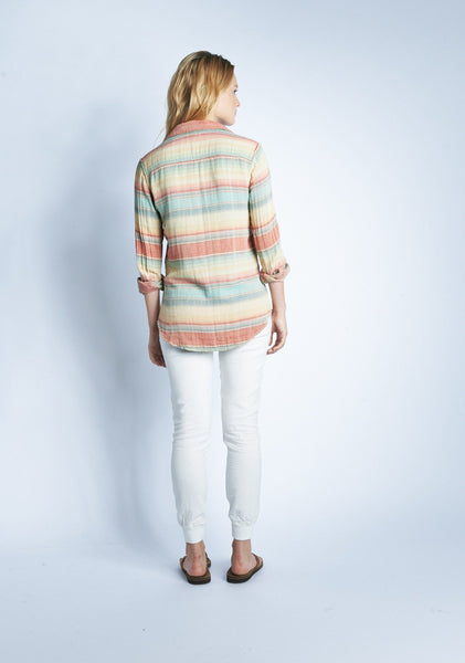 Reversible Belmar Workshirt  - Red/Green Multi Stripe Serape