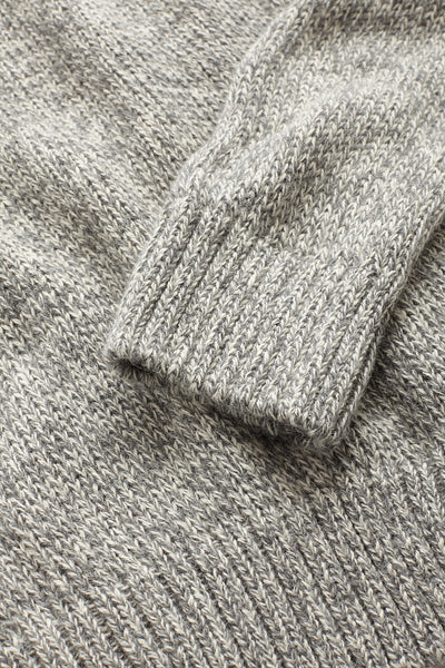 Alpaca Shawl Collar  Sweater - Grey Marl
