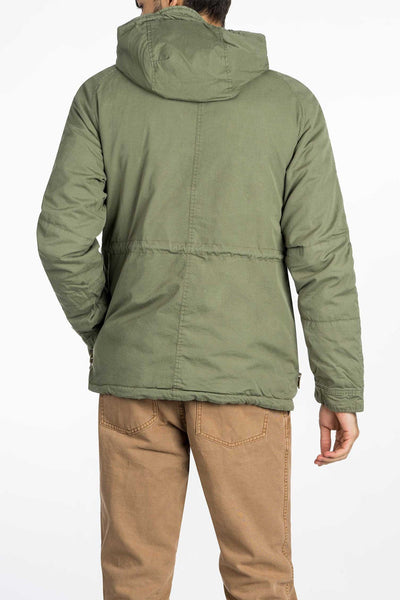 olive green mens utility jacket back