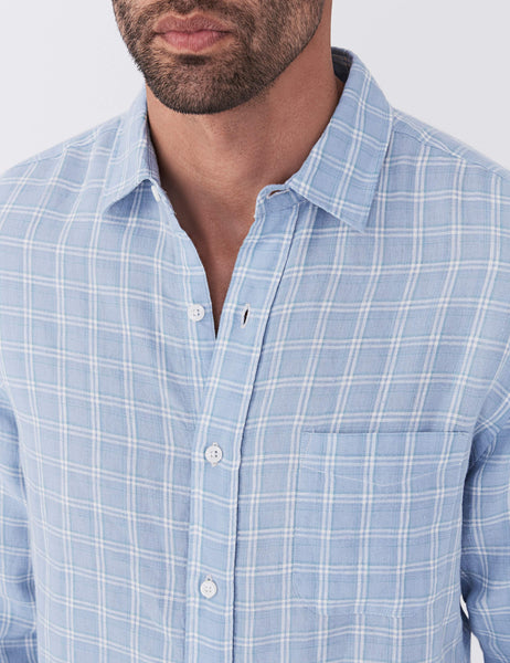 Linen Ventura Shirt - Light Blue Plaid