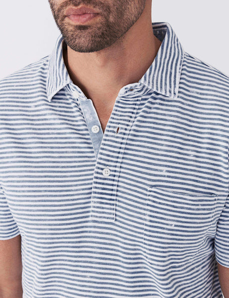 Indigo Polo - Salt Wash Indigo Stripe