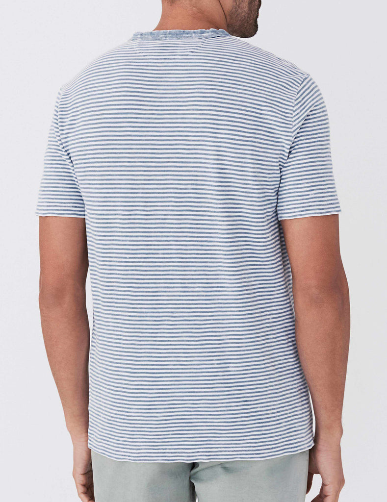 Indigo Pocket Tee - Salt Wash Indigo Stripe
