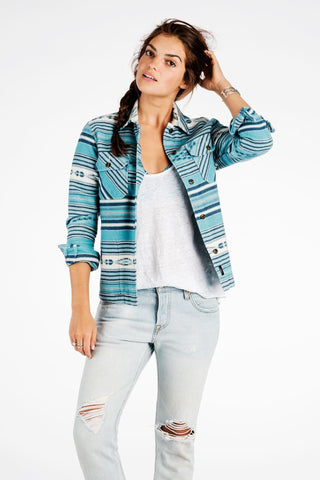 Boyfriend Shirt Jacket - Indigo Arrow Stripe