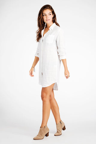 Portland Shirtdress - White Linen
