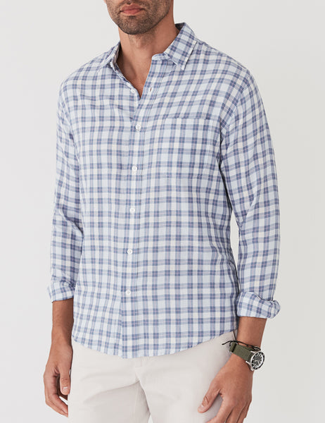 Ventura Shirt - Blue Herringbone Plaid