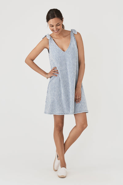Florence Dress - Salt Wash Indigo Stripe