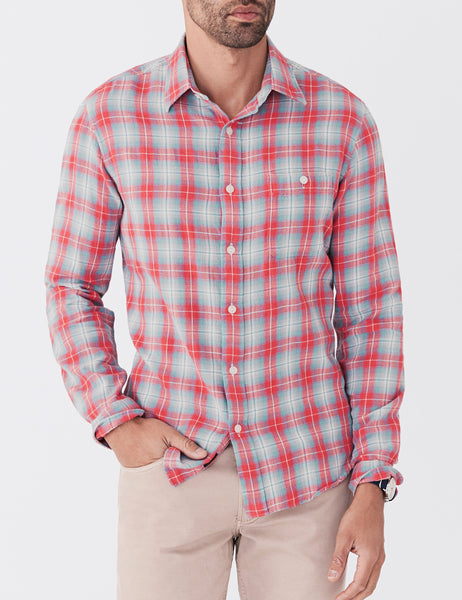 Organic Cotton Seaview Shirt - Red Blue Plaid