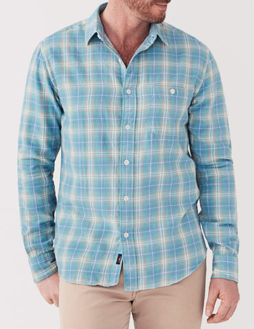 Organic Cotton Seaview Shirt - Green & Blue Plaid