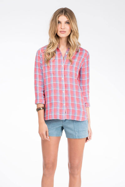 Malibu Shirt - Coral Plaid