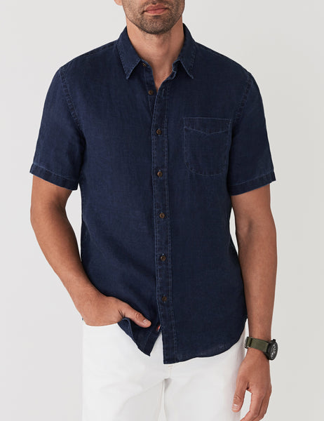 Short-Sleeve Linen Laguna Shirt - Dark Indigo