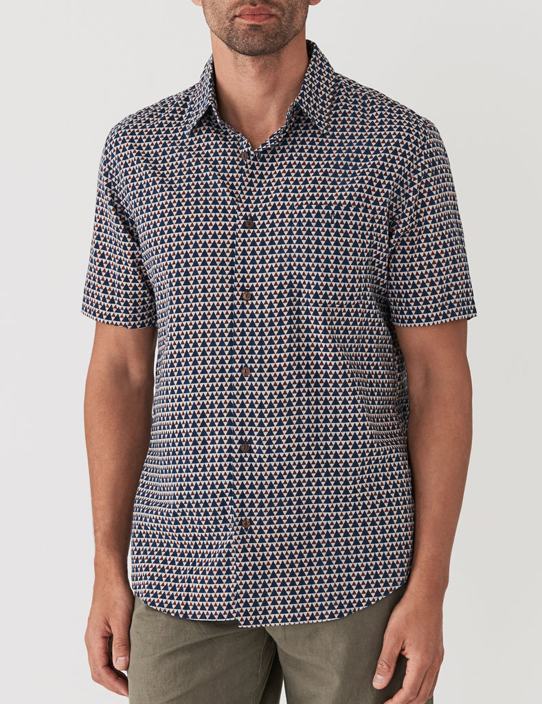 Short-Sleeve Coast Shirt - Geo Pyramid Indigo