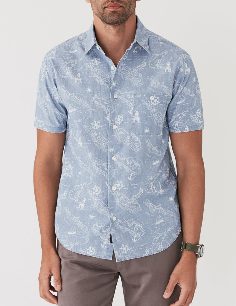 Short-Sleeve Coast Shirt - Map Print
