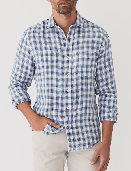 Linen Ventura Shirt - Washed Indigo Check