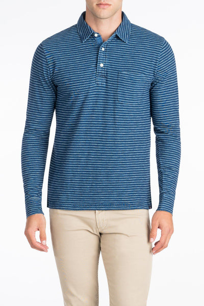 Long-Sleeve Indigo Polo  - Dark Wash Multi-Stripe
