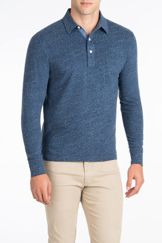 Long-Sleeve Heather Polo - Navy