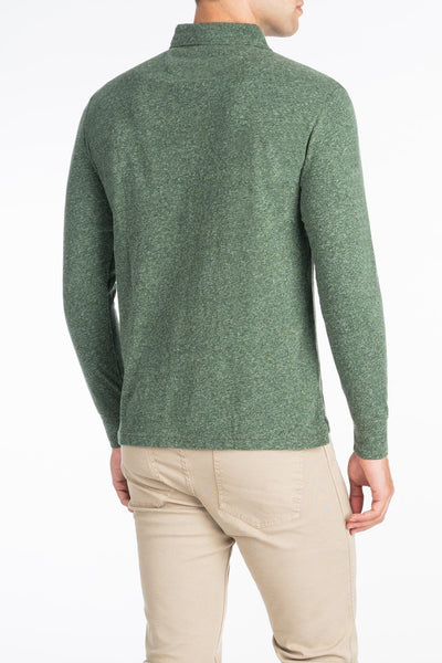 Long-Sleeve Heather Polo - Hunter Green