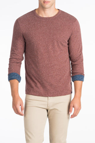 Long-Sleeve Heather Reversible Tee - Burgundy/Navy