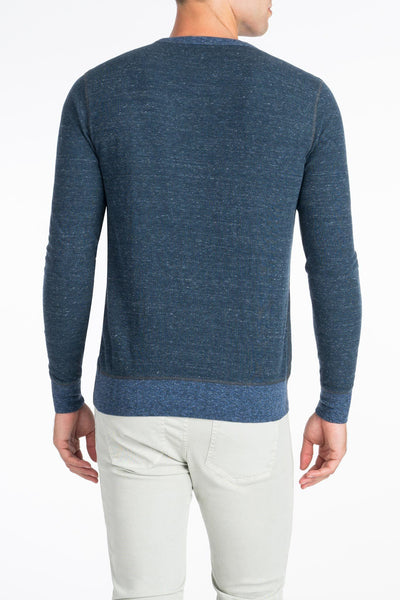 Heather Dual Knit Crewneck  - Navy