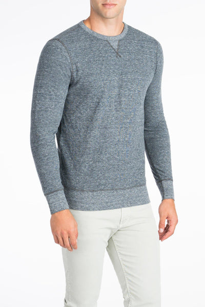 Heather Dual Knit Crewneck  - Charcoal Grey