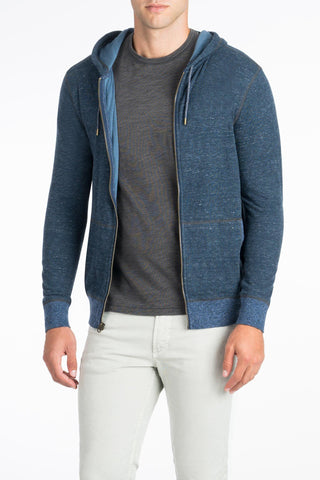 Heather Dual Knit Zip-Up Hoodie - Navy