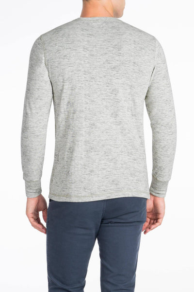 Heather Dual Knit Henley - Light Grey