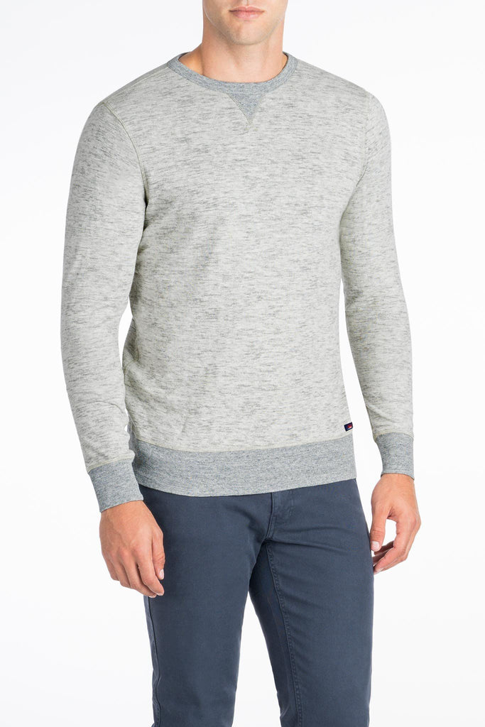 Heather Dual Knit Crewneck  - Light Grey